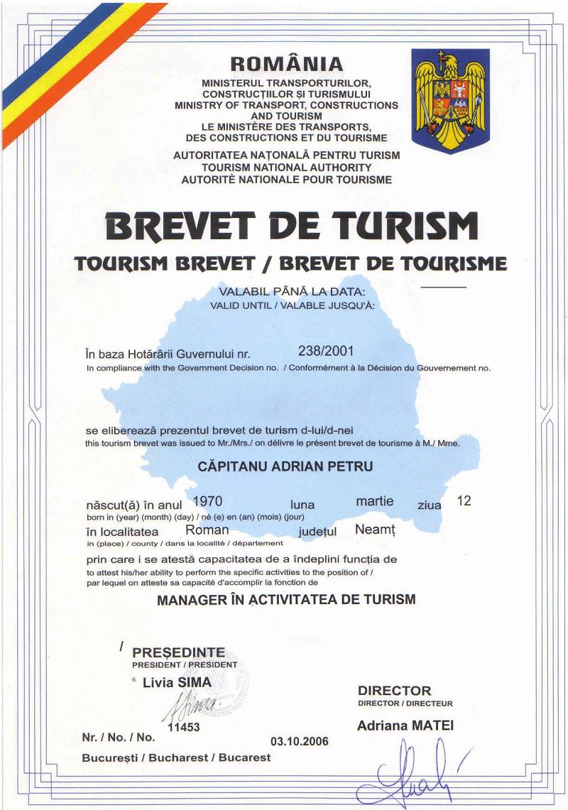 Brevet de Turism Nr. 11453 / 2006